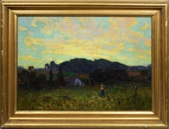 Texas Sunset Farm with Figure Working, Landscape Oil Painting by Olin Travis