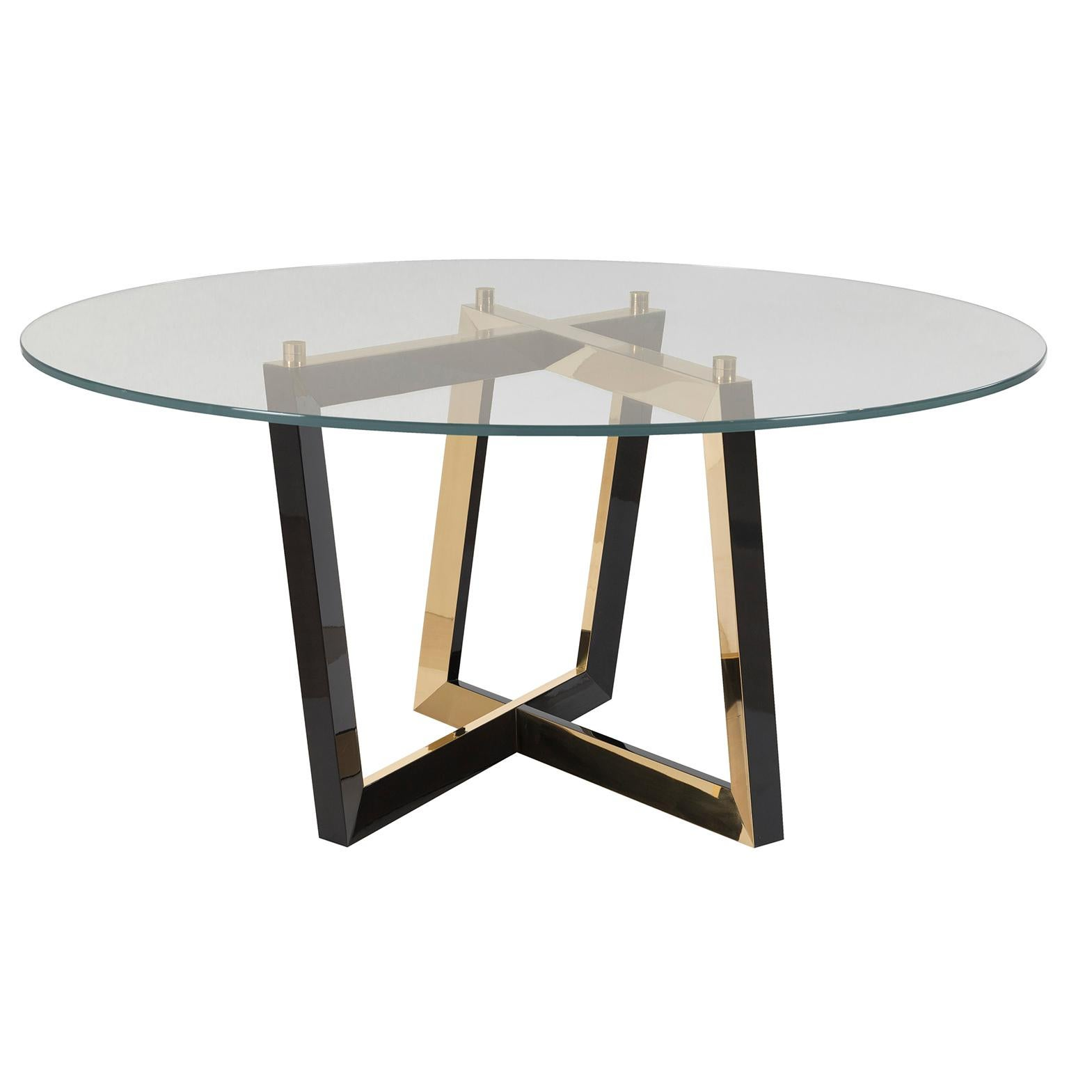Olisippo 6-Seat Round Dining Table Tempered Glass Top Black Stained Beech Brass