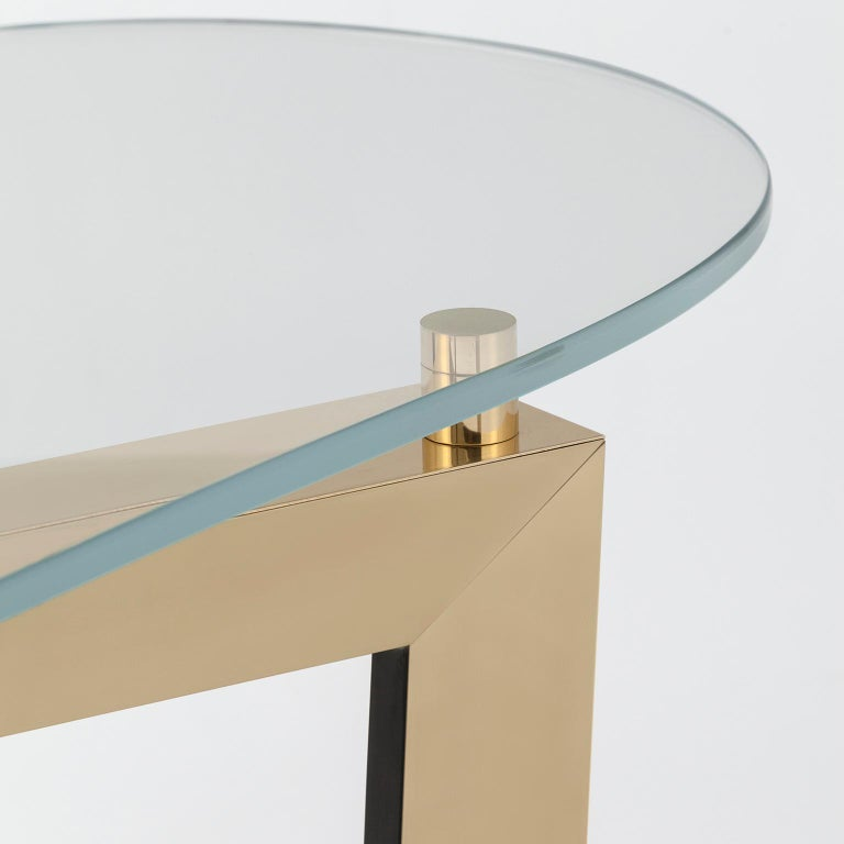 Modern Olisippo Console Tempered Glass Top Black Stained Beech Polished Brass Legs For Sale