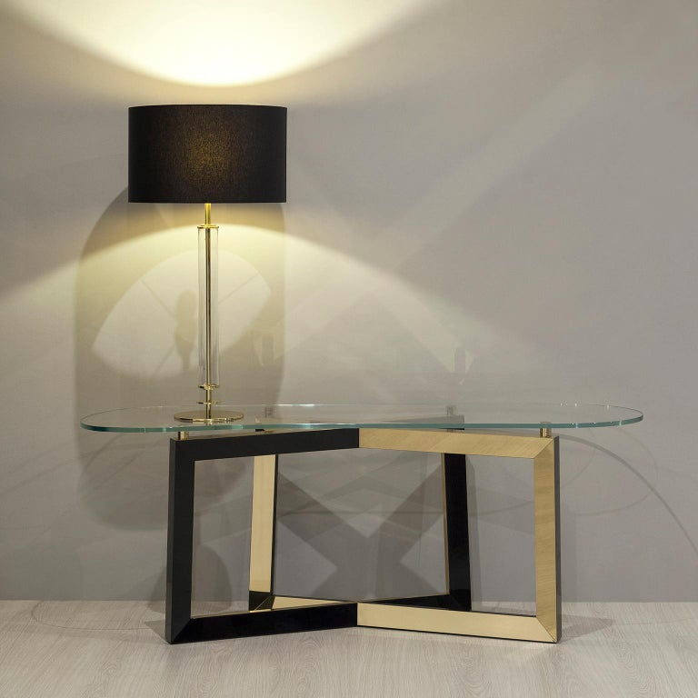 Olisippo Console Tempered Glass Top Black Stained Beech Polished Brass Legs For Sale
