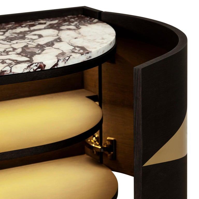 Olival Sideboard American Oak Dark Brown Brushed Brass Calacatta Viola Polished For Sale 1