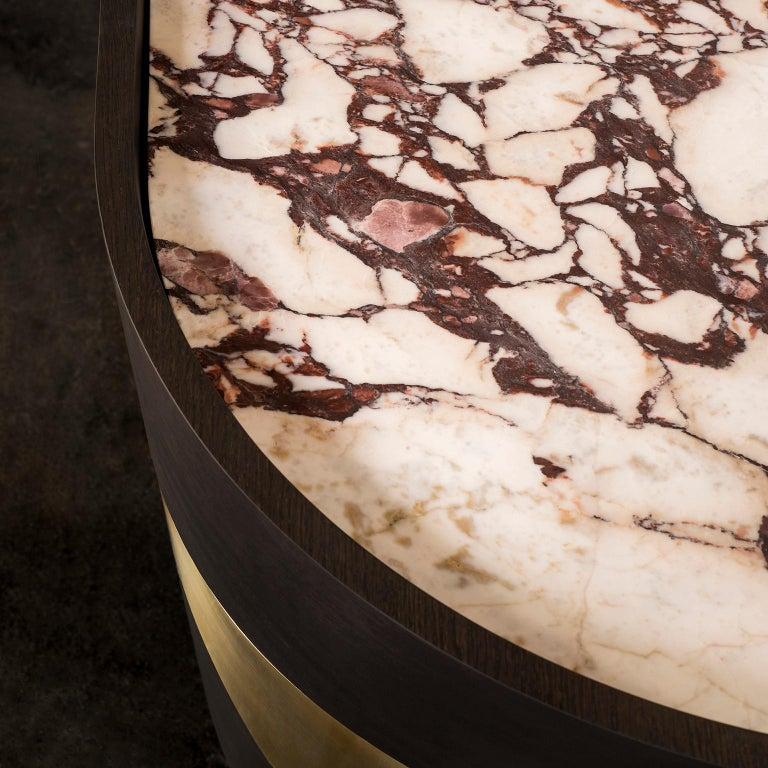 Olival Sideboard American Oak Dark Brown Brushed Brass Calacatta Viola Polished For Sale 2
