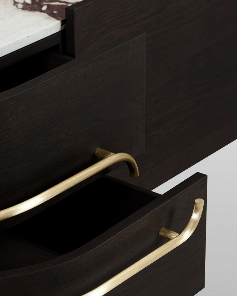Contemporary 21st Century Olival Sideboard American Oak Brushed Brass Calacatta Viola For Sale