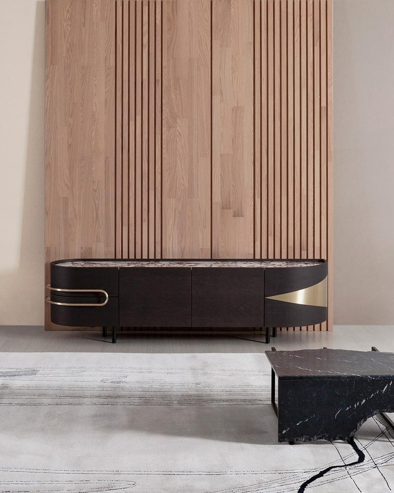 21st Century Olival Sideboard American Oak Brushed Brass Calacatta Viola For Sale 2