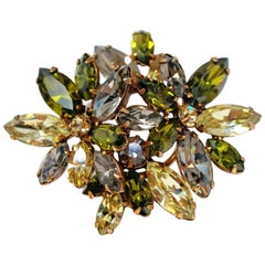 Olive and Moss Green Rhinestone Floral Motif Brooch by Regency, circa 1950s