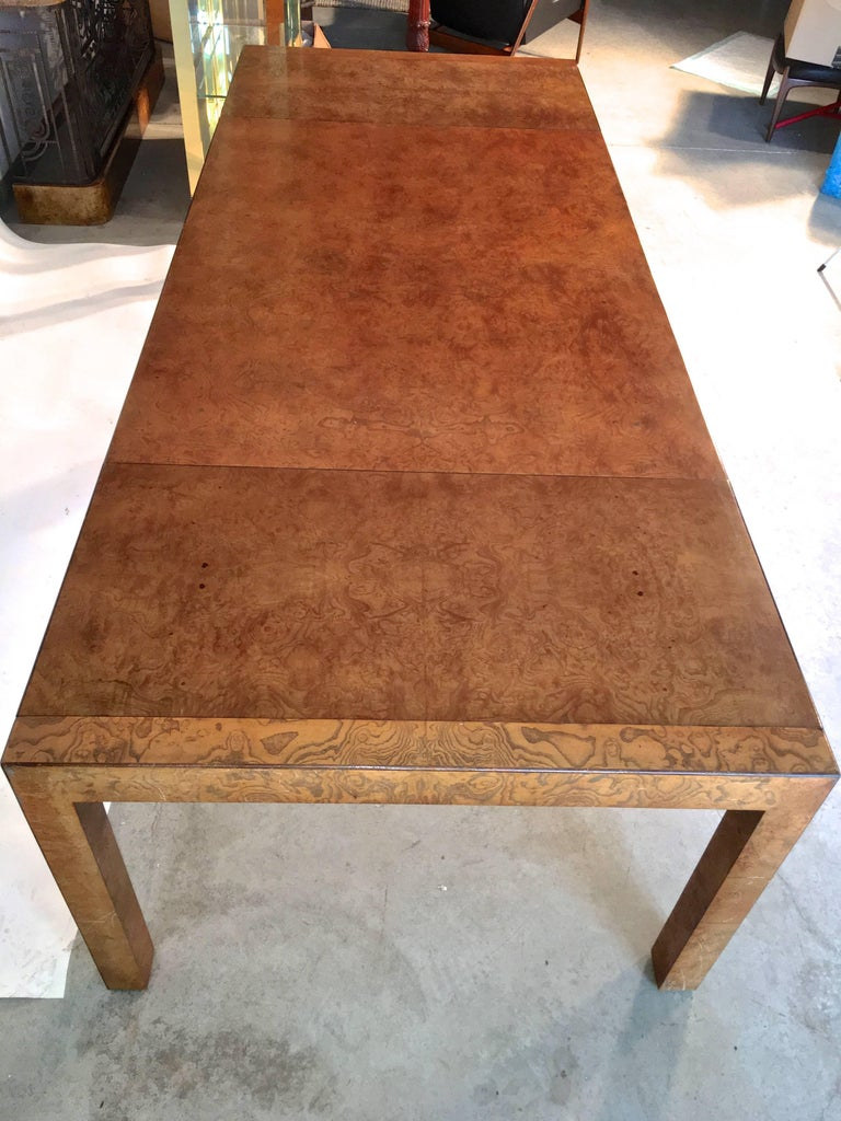 Olive Ash Burl Parsons Dining Table By John Widdicomb For