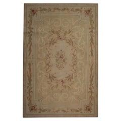 Beige Handmade Rug, Patterned Floor Area Aubusson Style Rugs, Flat-Weave Carpet