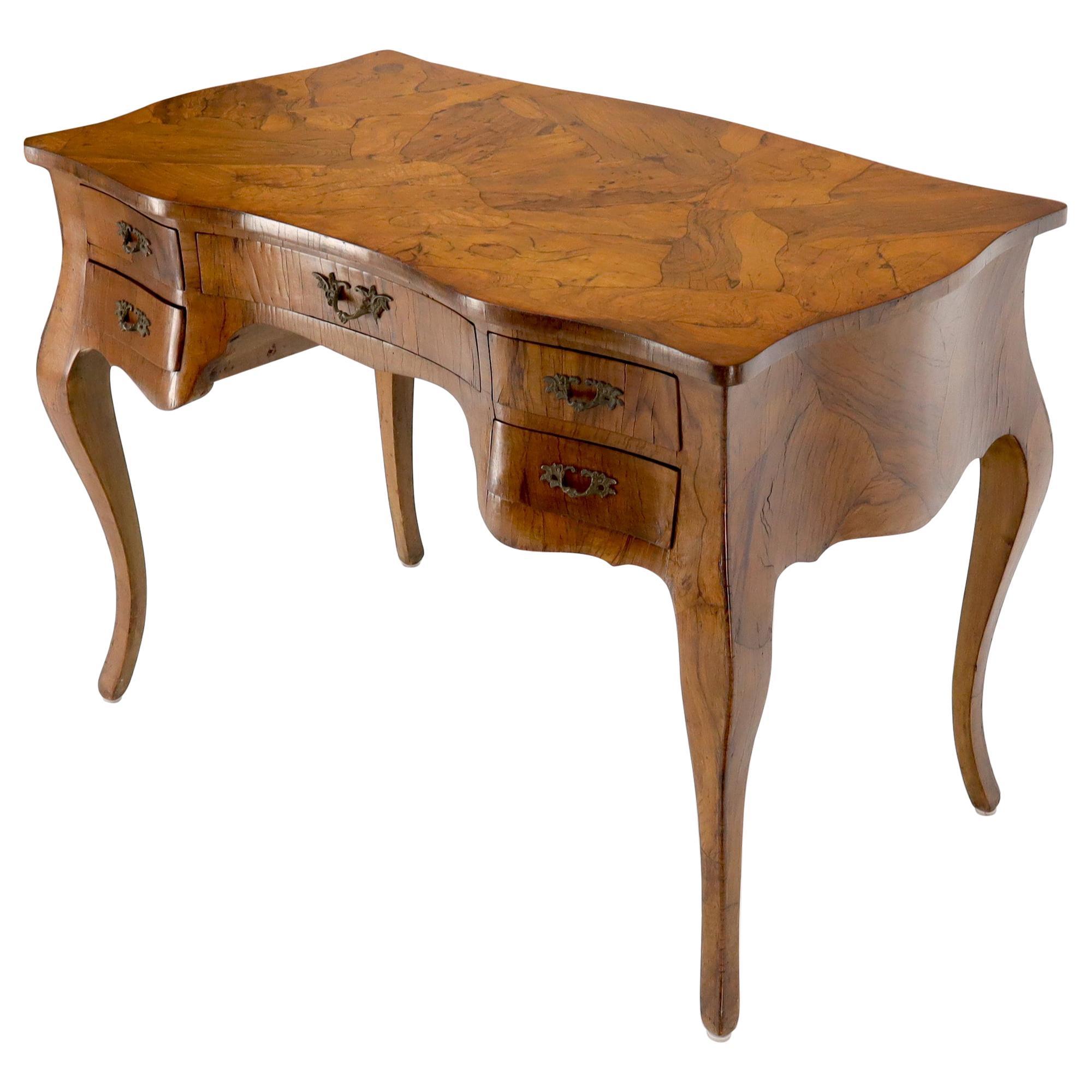 Olive Burl Wood Heavy Patches Veneer Italian Bombay Shape Desk Writing Table