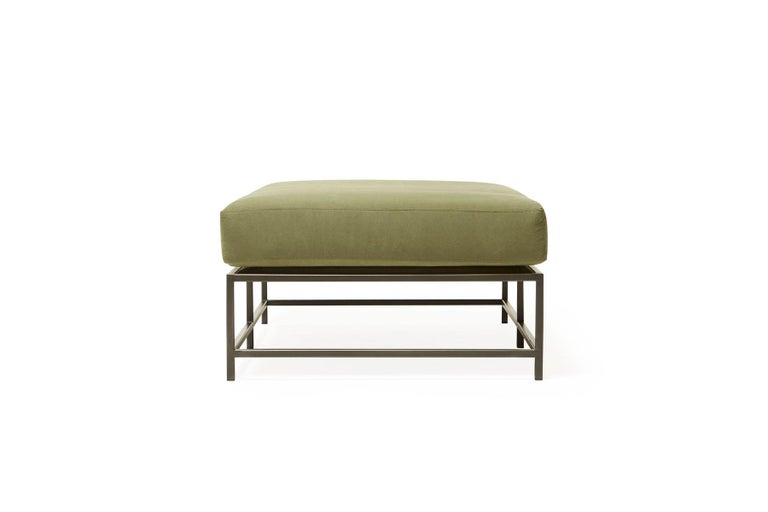 Modern Olive Canvas and Blackened Steel Bench For Sale