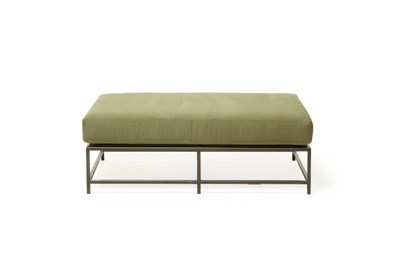 American Olive Canvas and Blackened Steel Bench For Sale