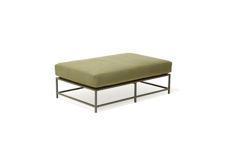 Olive Canvas and Blackened Steel Bench In New Condition For Sale In Los Angeles, CA