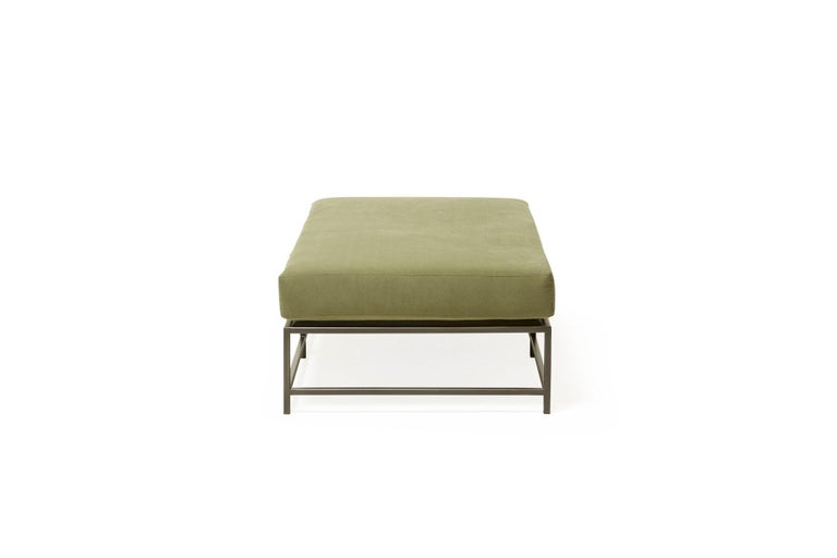 Contemporary Olive Canvas and Blackened Steel Bench For Sale