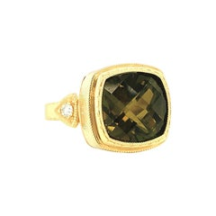 Olive Color Tourmaline Cushion and Diamond Yellow Gold Bezel Signet Band Ring