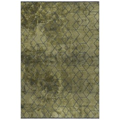 Olive Green and Dark Gray Contemporary Geometric 3D Design Luxury Soft Rug