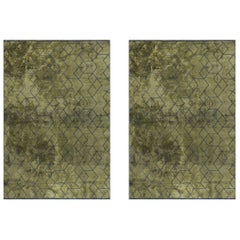 Olive Green and Dark Gray Contemporary Geometric 3D Design Luxury Soft Rug Pair