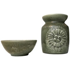 Olive Green Ceramic Vase and Bowl 'Zenit' by Gunnar Nylund for Rorstrand, 1970s