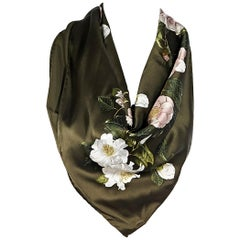 Chanel Olive Green Silk Floral-Printed Scarf