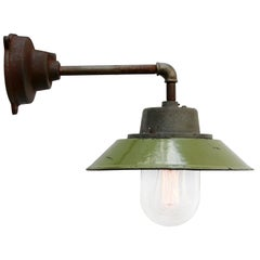 Olive Green Enamel Vintage Industrial Cast Iron Arm Clear Glass Wall Lamp