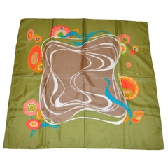 "Olive-Green ""Flowing Florals"" Silk Scarf"
