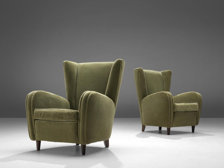 Set of armchairs, olive green fabric, wood, Italy, 1950s.