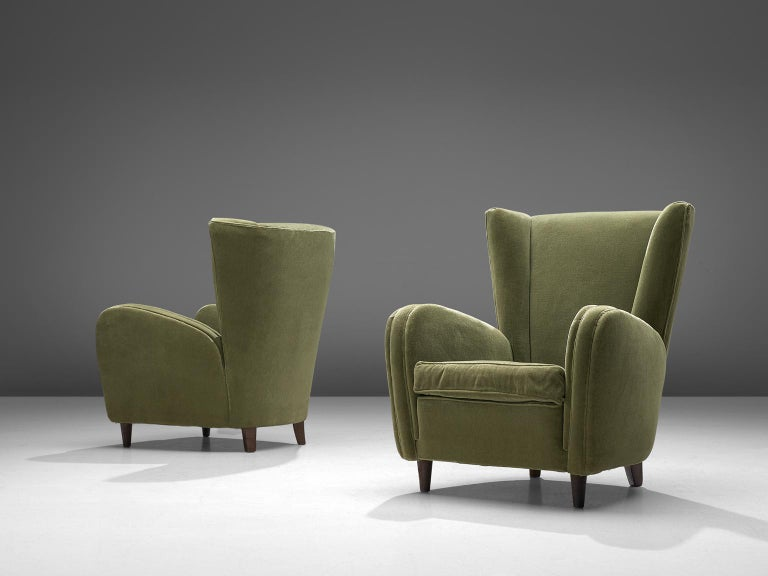 Scandinavian Modern Olive Green Italian Lounge Chairs, 1950s