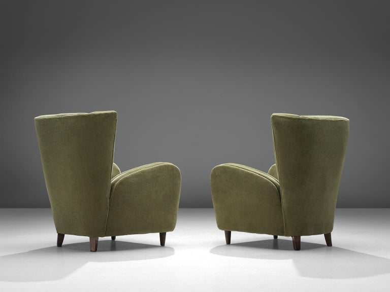 Olive Green Italian Lounge Chairs, 1950s In Good Condition In Waalwijk, NL