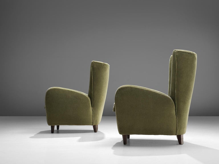 Mid-20th Century Olive Green Italian Lounge Chairs, 1950s