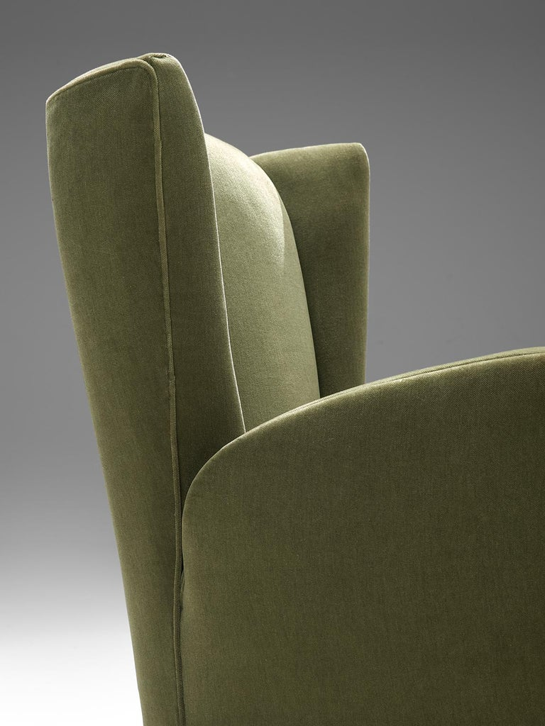 Olive Green Italian Lounge Chairs, 1950s 1