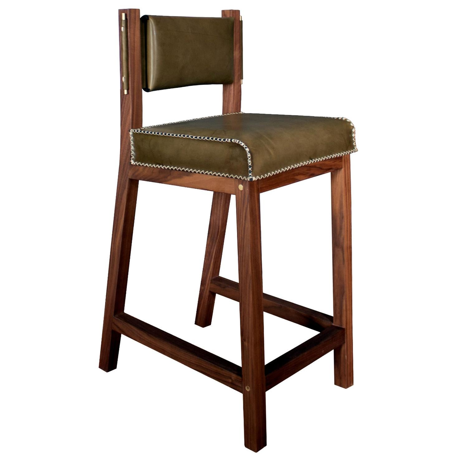 Olive Green Leather and Walnut Counter Height Stool