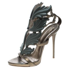 Olive Green Leather Argent Metal Wing Embellished Strappy Sandals Size 37