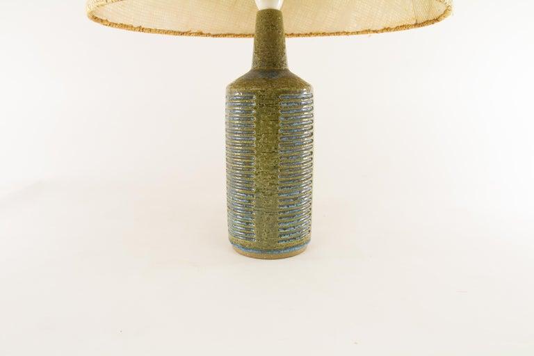 Scandinavian Modern Olive Green & Light Blue Table Lamp Model DL/30 by Per Linnemann-Schmidt, 1960s For Sale