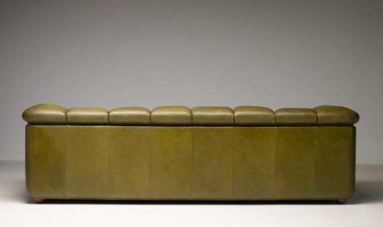 Olive Green Poltrona Frau Sofa In Good Condition In Dronten, NL