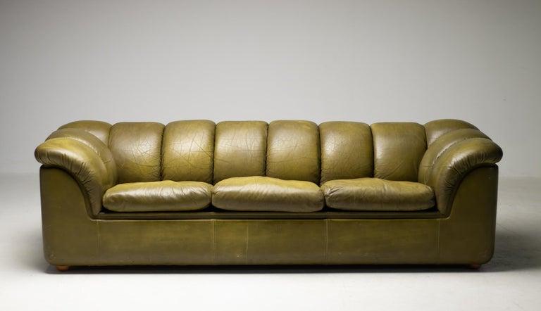 Leather Olive Green Poltrona Frau Sofa