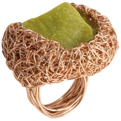 Olive Green Raw Chunky Serpentine in Rose Gold Statement Ring by Sheila Westera