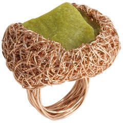 Olive Green Raw Serpentine Statement Cocktail Ring by Sheila Westera in Stock