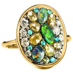 Olive Green Rose-Cut Diamond Black Lightning Ridge Opal, Paraïba Tourmaline Ring
