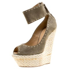 Olive Green Suede Espadrille Wedge Ankle Strap Peep Toe Pumps Size 37
