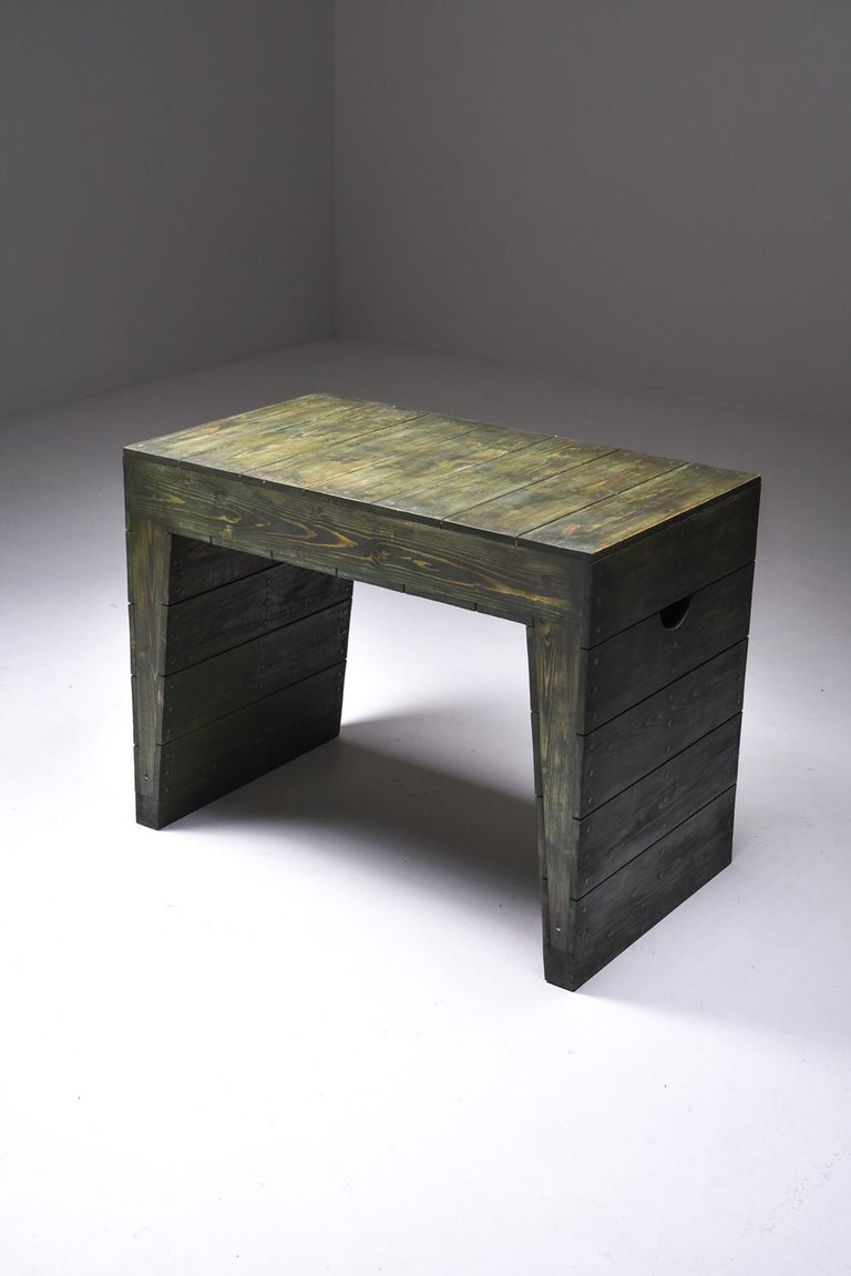 Olive Green Table Desk by Dom Hans van der Laan & Jan de Jong For Sale 3