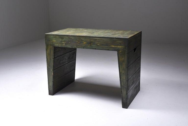 Minimalist Olive Green Table Desk by Dom Hans van der Laan & Jan de Jong For Sale