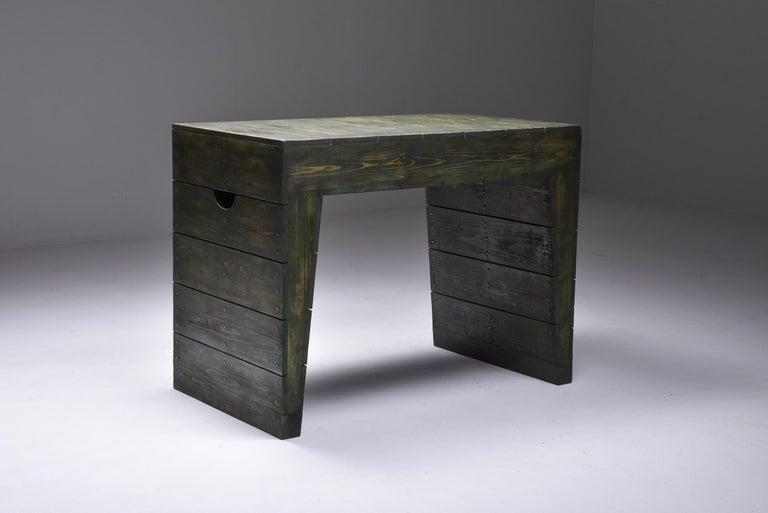 Dutch Olive Green Table Desk by Dom Hans van der Laan & Jan de Jong For Sale