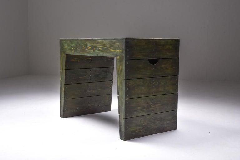Olive Green Table Desk by Dom Hans van der Laan & Jan de Jong In Good Condition For Sale In Antwerp, BE