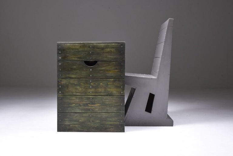 Cedar Olive Green Table Desk by Dom Hans van der Laan & Jan de Jong For Sale