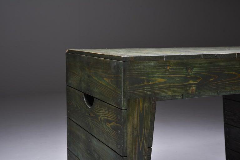 Olive Green Table Desk by Dom Hans van der Laan & Jan de Jong For Sale 1