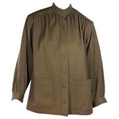 cf4c66f1aed Olive Green Vintage Saint Laurent Rive Gauche Gabardine Jacket