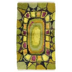 Olive Green Vintage Swedish Wool Rya Rug, 1950-1970