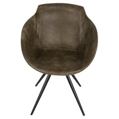 Olive Leather Club Dining Chair