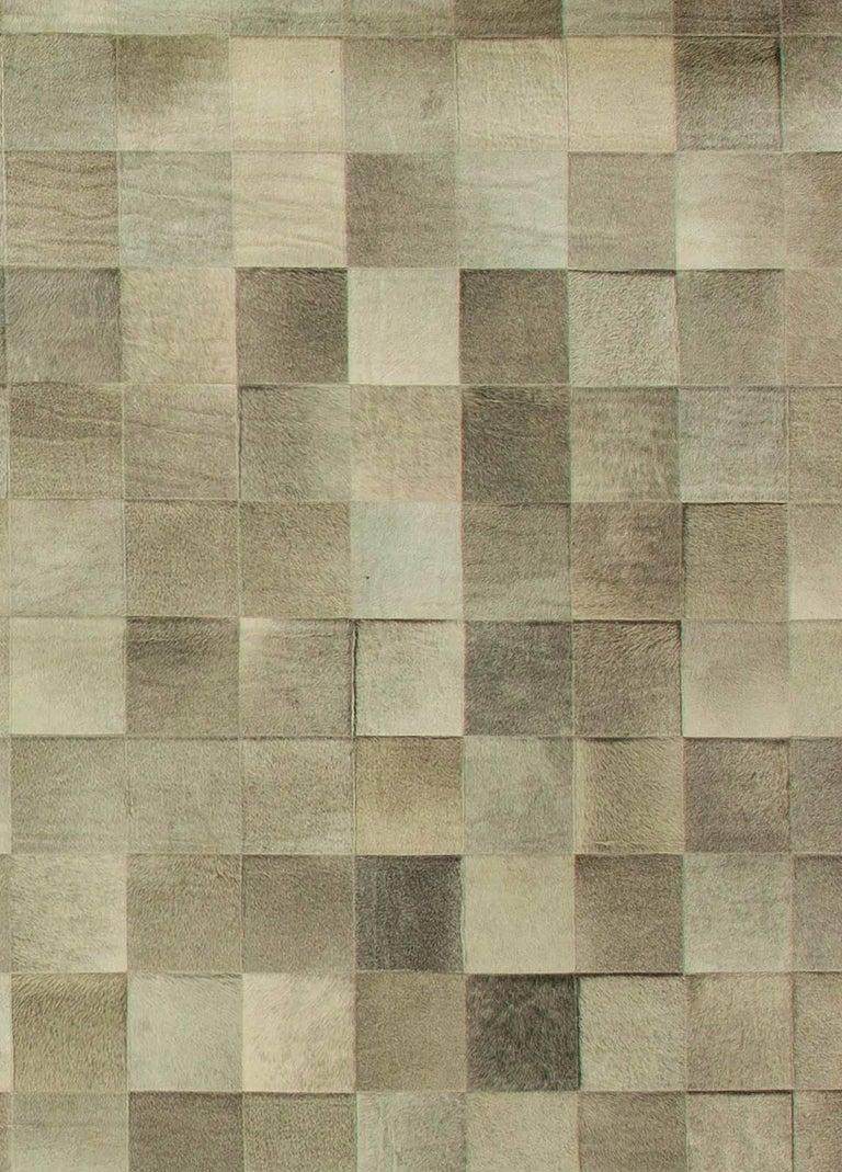 Modern Olive Oversized Hair-on-Hide Contemporary Rug For Sale