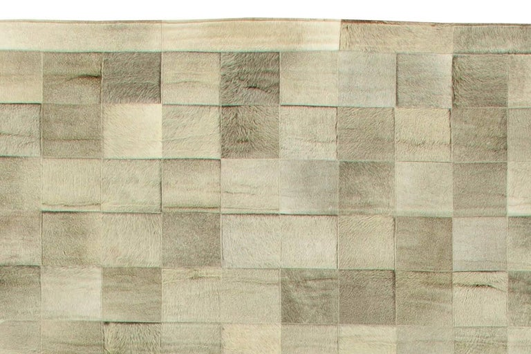 Hand-Knotted Olive Oversized Hair-on-Hide Contemporary Rug For Sale