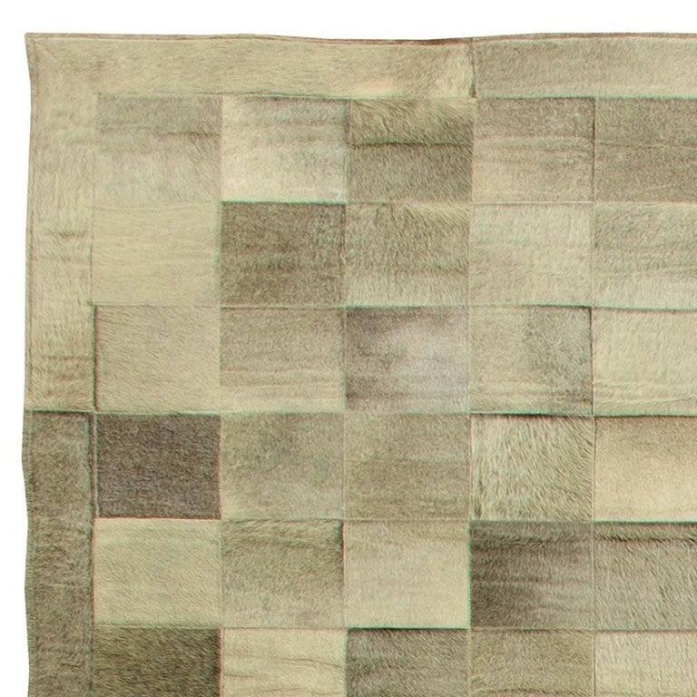 Olive Oversized Hair-on-Hide Contemporary Rug In New Condition For Sale In New York, NY