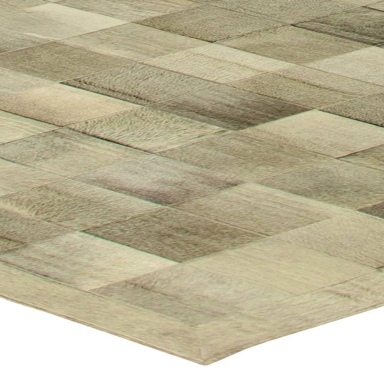 Goat Hair Olive Oversized Hair-on-Hide Contemporary Rug For Sale